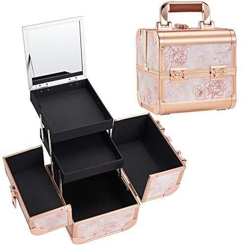 Joligrace Make-up-Koffer für Mädchen, Kosmetikkoffer, Schmuck, Organizer, Nagelbox, Kosmetikkoffer, leicht, abschließbar mit Schlüssel (Roségold)