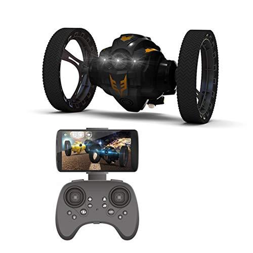 YXDS RC Bounce Car Peg 803805 2.4G Coche de Salto con cámara WiFi 2.0Mp Ruedas Flexibles Rotación Luz de Noche Led RC Robot Car Gift