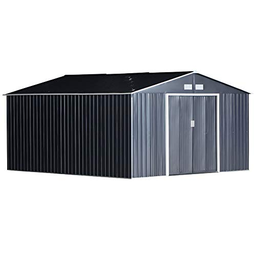 Outsunny 13 x 11ft Outdoor Garden Roofed Metal Storage Shed Tool Box with Foundation Ventilation & Doors, Grey