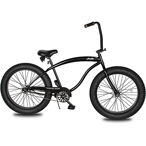 Tracer Avalon 26 Inch Beach Cruiser Bike for Adults,Steel Frame,1/7 Speed,Hi-Rise Handlebar,Three Piece Cranksets, Fat Alloy Rim 80mm,26x4.0 Fat Tire Bike,Mens Bike,Hybrid Bike,Complete Cruiser Bikes