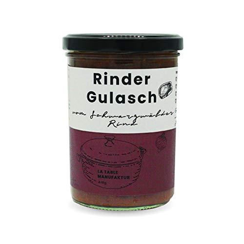 Rinder-Gulasch vom Schwarzwälder Rind | 410g | Handgemacht | Glutenfrei | Keine künstlichen Zusätze | Ohne Geschmacksverstärker