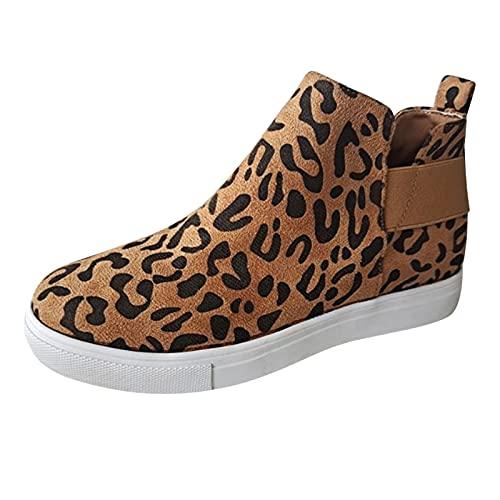 Briskorry Vrijetijdsschoenen voor dames, met sleehak, plateau, vrijetijdsschoenen, modieus, sneakers, luipaard, vrijetijdsschoenen, slip-on loafers, sneakers, bruin, 39 EU