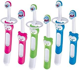 Mam Baby's Brush - Juego de 2 cepillos de dientes para bebé con anillo de seguridad, mango corto específico para dientes de leche, 6 + meses, verde - 60 g