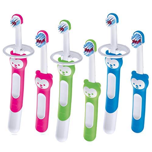 Mam Baby's Brush Zahnbürste Neonato im 2er Set für Neonati Zahnbürste mit Sicherheitsring, Griff für Milchzähne, 6+ Monate, Grün - 60 g