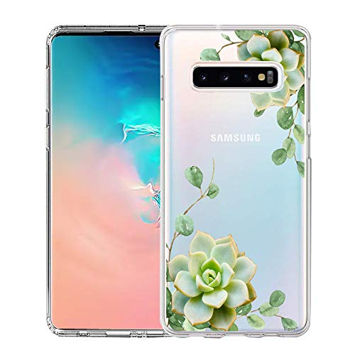 Unov Galaxy S10 Case Clear with Design Soft TPU Shock Absorption Embossed Pattern Slim Protective Back Cover for Galaxy S10 6.1in (Succulent Plant)