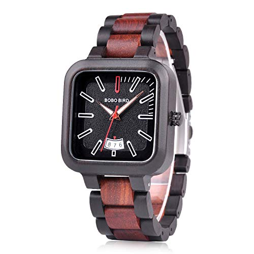 BOBO BIRD Relojes de madera para hombre, ligeros, informales, deportivos, con fecha, reloj de cuarzo con caja de madera para hombres