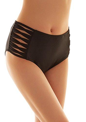 SHEKINI Damen Schwarze Badeshorts hohe Taille Bikinihose High Waist Bikini Höschen Plus Size (Medium, Cross Strapped Sides)