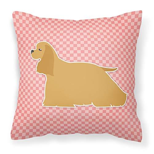 Caroline's Treasures BB3586PW1818 Cocker Spaniel Checkerboard Pink Decorative Pillow, 18 inch x 18 inch, Multicolor
