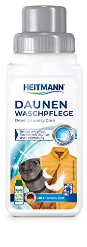 Heitmann Lavado de plumón: limpia y cuida textiles con relleno de plumón, ideal para la limpieza suave de chaquetas de plumas, cojines de plumas, edredones de plumas, 250 ml, 1 unidad.