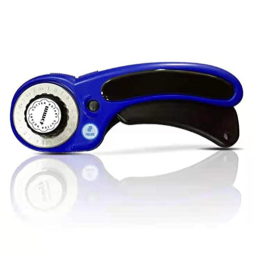 Tungsten Steel Ergonomic 45mm Quilting Rotary Cutter, Including 5 Extra Blades and a Blade case to Store The Extra Blades.