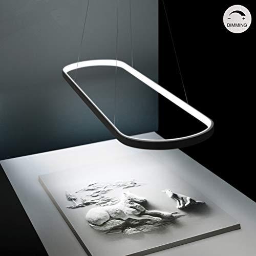 Modern LED Pendelleuchte Esstisch Lampe Dimmbar Ring Design Esszimmer-Lampe Hängelampe Höhenverstellbar Esszimmer Deckenleuchte Schwarz kronleuchter Metall Esstischlampe Hängeleuchte Küche Wohnzimmer