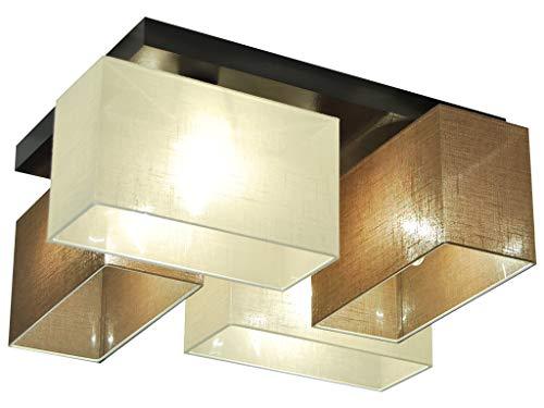 Deckenlampe HausLeuchten JLS41BRECD Deckenleuchte Leuchte Wohnzimmer, Schlafzimmer, Kinderzimmer oder Küche Lampe 4-flammig Holz (BRAUN/ECRU)