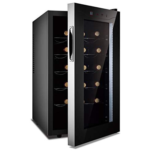 HUATINGRHHO Leise Weinkühlschrank, Temperaturen: 11-18 °C Platz für 16 Flaschen Wein LCD-Bildschirm Touch Panel Edelstahl Glastür Seitliche Griffmulde Glastür