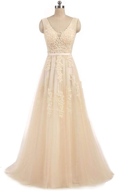 Liyuke Women's VNeck Lace Prom Dresses Long Appliqued Wedding Dress