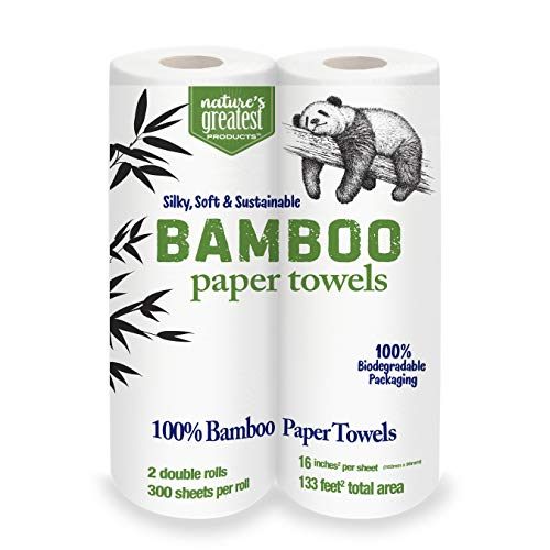 Nature's Greatest,100% Bamboo & Sugarcane Kitchen Paper Towels, 2 Ply, 115 Sheets, 2 Rolls, Packaging May Vary