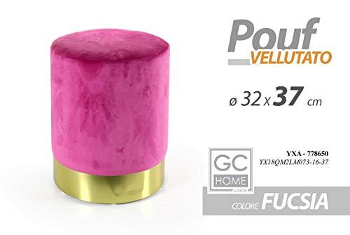 GICOS IMPORT EXPORT SRL Pouf Vellutato Sgabello poggiapiedi Tondo Colore Fucsia 32 * 37 cm Arredamento YXA 778650