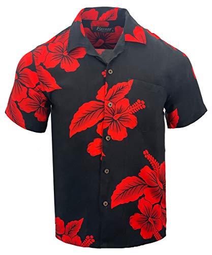 Favant Tropical Luau Beach Hibiscus Floral Print Men's Hawaiian Aloha Shirt (X-Large, Black/Red)
