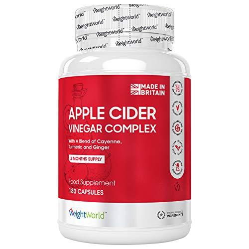 Vinaigre de Cidre de Pomme Premium 1027 mg - 180 gélules Vegan WeightWorld (3mois) - Complexe avec du Piment de Cayenne, Curcuma et Gingembre | Apple Cider Vinegar Complex Capsules
