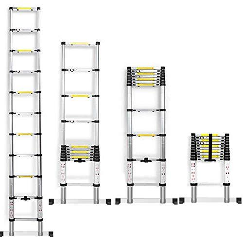 Alu Teleskopleiter Tragbar Klappleiter mit Tragetasche und Handschuhe, Verhindert das Einklemmen der Hände,150 kg Belastbarkeit, Leiter Ausziehbar für Dachboden Kletterdach Baujob (3,2M)