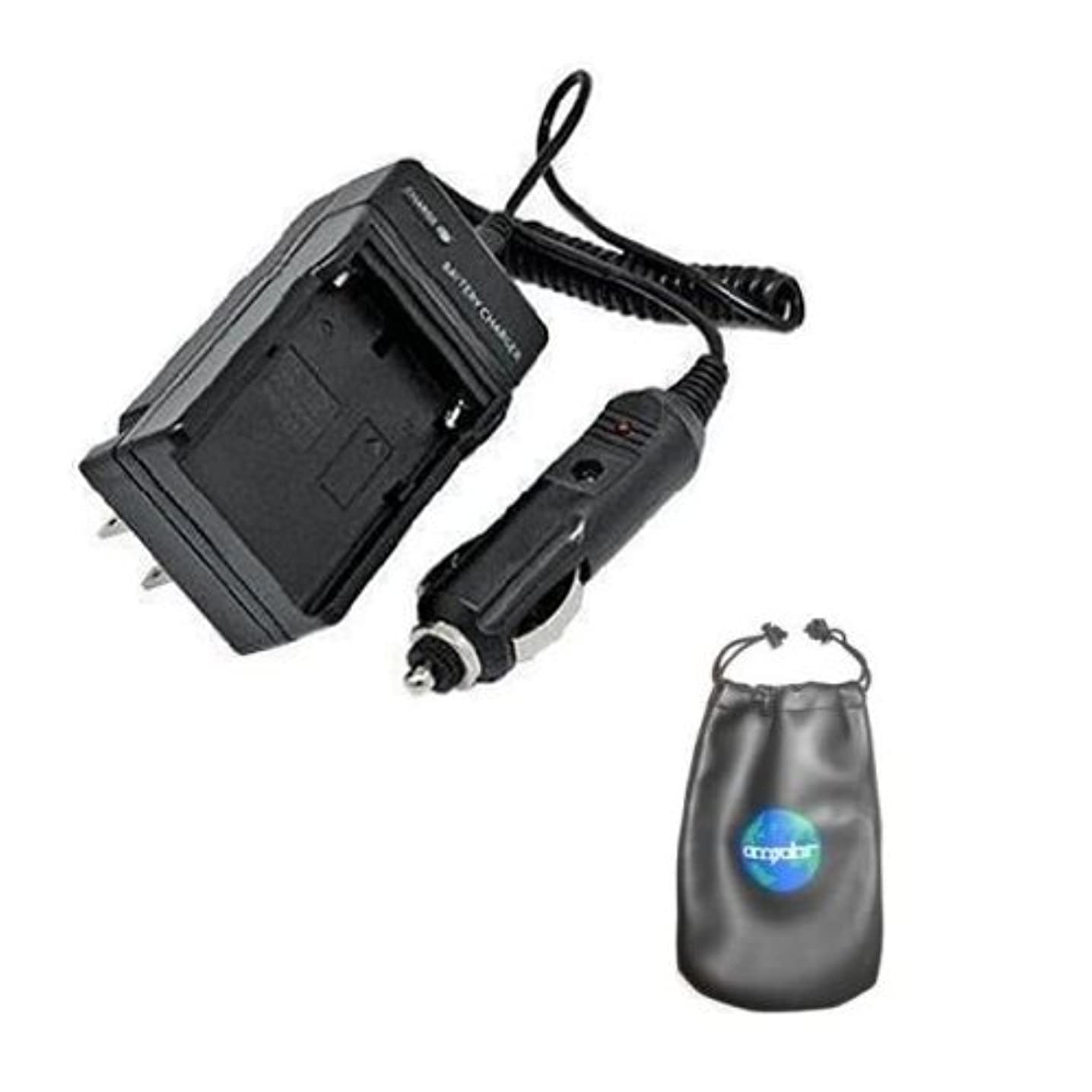 Amsahr C-BP970G Digital Replacement Mini Battery Travel Charger for BP-970G, BP-945, BP-950, BP-950G, BP970 with Lens Accessories Pouch (Gray)