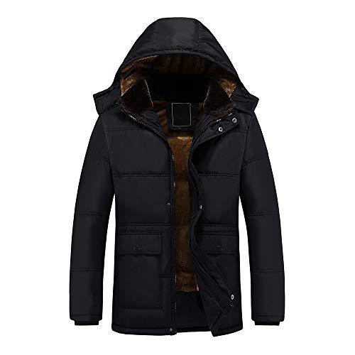 Yesmile Abrigo de invierno hombre color puro Chaqueta gruesa con capucha y bolsillo Longitud mediana Terciopelo engrosamiento Abrigo de algodón con cremallera