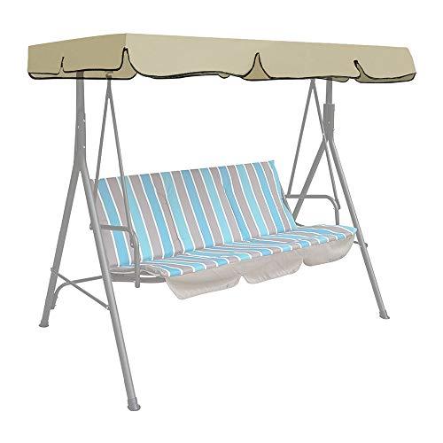 Iraza Ersatzdach Gartenschaukel Schaukelstuhl Hängematte Bezug Universal Hollywoodschaukel 3 Sitzer UV Ersatz Bezug Sonnendach Schaukel Sand (190 * 132 * 14cm, Beige)