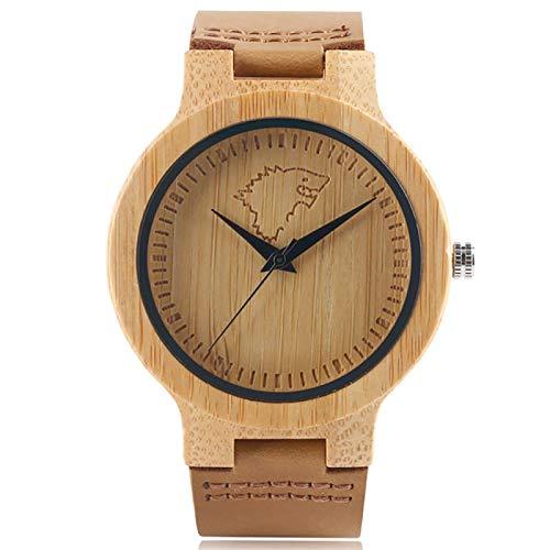 RelojGrabado debambú deHielo paraHombre, Correa de Reloj de Cuero marrón, Reloj de Madera para Hombre de Moda Natural A