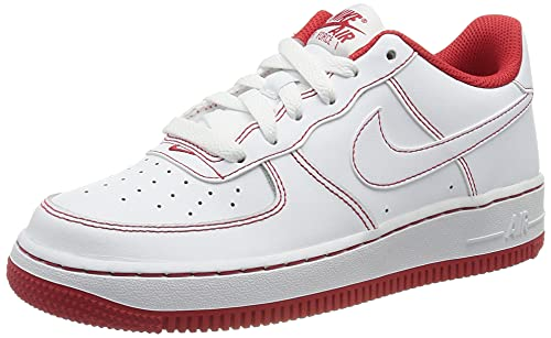 Nike Air Force 1 (GS), Scarpe da Basket, White/White-Univ Red, 36.5 EU