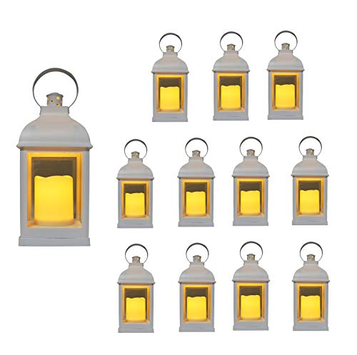 Just In Time For Winter {12 Pc Set} 10' Decorative Lanterns with Flameless LED Lighted Candle, 5 Hr Timer, Antique Look Indoor Outdoor Home, Garden, Weddings - White. Includes Bonus String Lights!