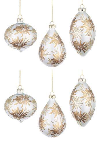 BIZZOTTO Palle Albero di Natale in Vetro Bianco Perla Oro, Pendenti a Goccia Ciondoli Decorazioni Natalizie Addobbi
