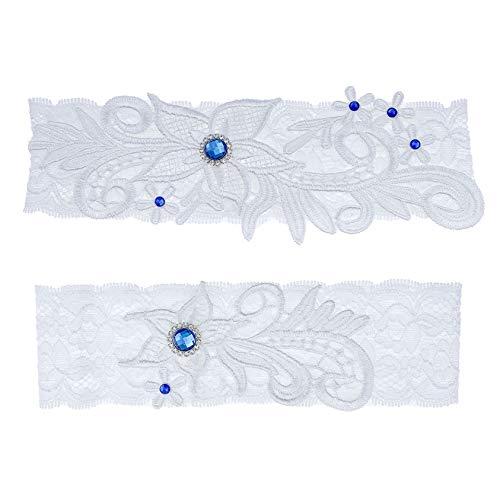 ZYYXB Liguero de encaje para mujer, diseño de piedras preciosas flexible, liga elástica, elegante, liguero de cristal nupcial, vestido de dama de honor, decoración de boda, azul 1