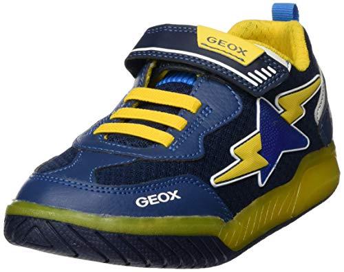 Geox Jungen J INEK Boy B Sneaker, Blau (Navy/Yellow C0657), 34 EU