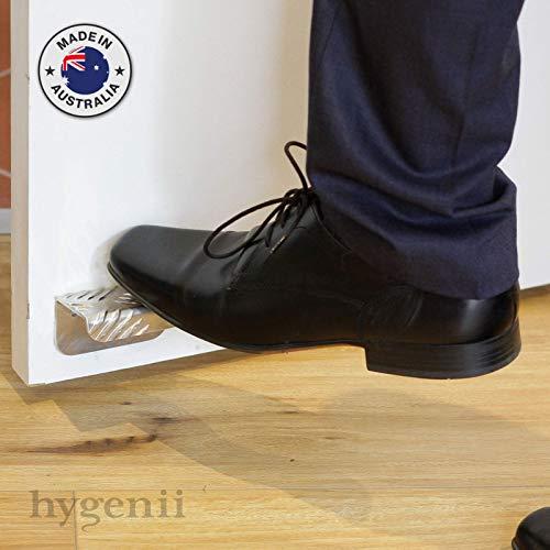 Hygenii - Abrepuertas sin contacto, mango de puerta con pie para manillar, manos libres, diseño antimicrobiano, aluminio higiénico
