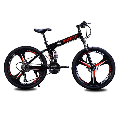 ZTIANR Bicicletta, 24Inch 26Inch Folding Mountain Bike 21 velocità Doppia Damping Double Disc 3 Coltello Ruota di Bicicletta Freni Mountain Bike,Nero,24 inch 21 Speed