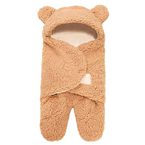 WOIA Saco de Dormir para bebé Manta de recepción para recién Nacidos con Forro Polar Esponjoso Ultra Suave para bebés, Caqui, 6M