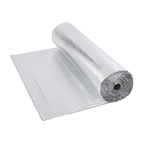 Biard Rollo Aislante Térmico de Aluminio de 1 Capa Doble Cara Burbujas Reflectivo - 1,2 m x 10 m (12 m^2) Ideal para Buhardilla Desván Paredes Caravanas y Áticos- 200 g por m^2
