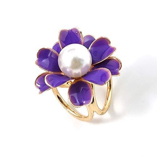 ROTOOY Flor de Cristal Bufanda de Seda Accesorios de joyería Chal Anillo Clip tricíclico Bufanda Hebilla Lujosa Simple Mujer niña Fiesta-púrpura