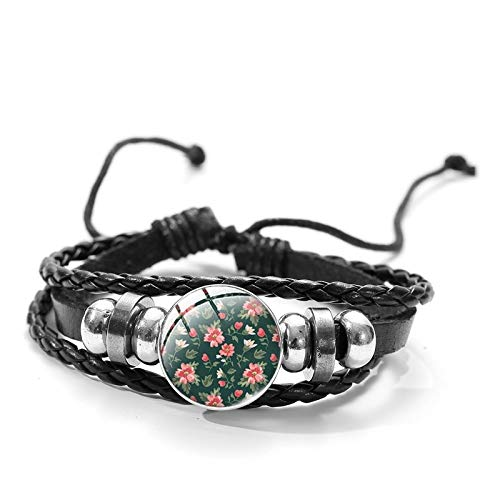 Braided Bracelets Vintage Adjustable Multilayer Unisex Punk Style Bracelets,Red Flowers On Green Background Pattern Pictures,Bangle Hand Chain Cuff Jewelry Gifts,For Men Women Couples Mother Friend