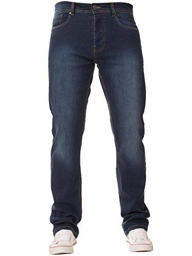 New Mens ENZO Stretch Straight Leg Regular Fit Classic Basic Denim Jeans...
