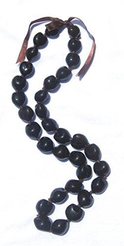 Hawaiian Lei Necklace of Dark Brown Kukui Nuts