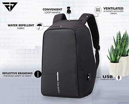 Fur Jaden Anti Theft Backpack 15.6 Inch Laptop Bag with USB Charging Port and Water Resistant Fabric