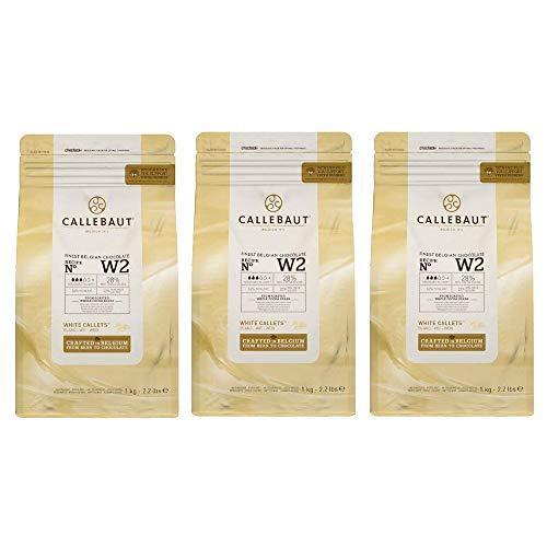 Callebaut W2 pepitas de Chocolate Blanco (callets) - Lote de 3 x 1kg