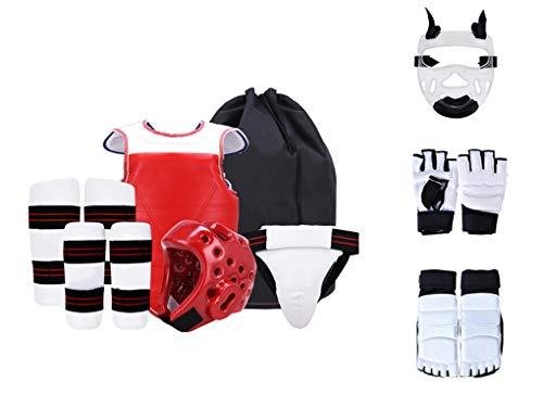 Yx-outdoor Équipement de Protection de Taekwondo pour Enfants, équipement d'entraînement Velcro Thicken, protège-Corps de Taekwondo, Ensemble de Neuf pièces, Sac à Dos