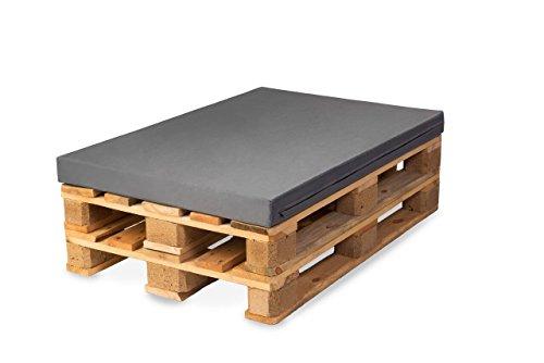 TexDeko Palettenkissen, Palettensofa, Palettenpolster, Matratzenkissen (120x80x8cm) Schaumstoff für Europalette, Auflage (in Grau mit wasserabweisendem Bezug)