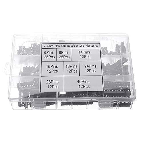 Módulo electrónico DIP IC Socket Adaptador de Soldadura Tipo del zócalo del kit 6/8/14/16/18/24/28/40 122pcs Pasadores Equipo electrónico de alta precisión