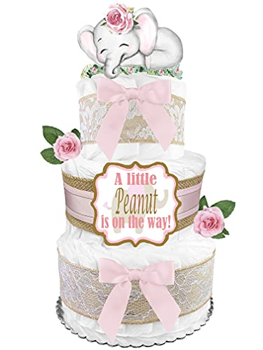 Elephant Diaper Cake - Girl Baby Shower Gift - Centerpiece - Pink and Gray
