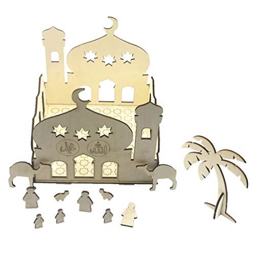 VALICLUD Eid Mubarak Decoraciones DIY Figura de Castillo de Madera sin Terminar con Mesa de Luz Centro de Mesa para Musulmán Ramadan Fiesta Decoración Suministros 20X20cm