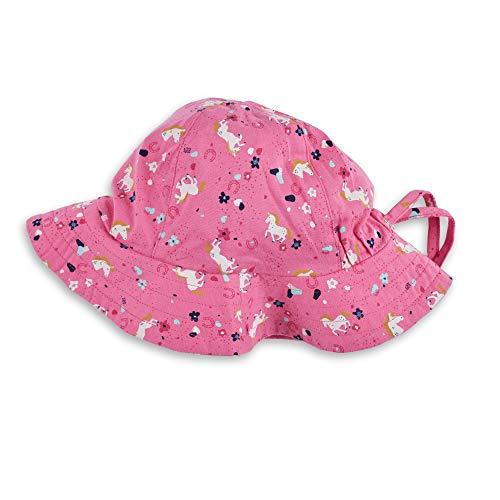 Sigikid Mädchen Mini Sonnen-Hut aus Bio-Baumwolle für Kinder Sonnenhut, Pink/Pferde, 52 cm