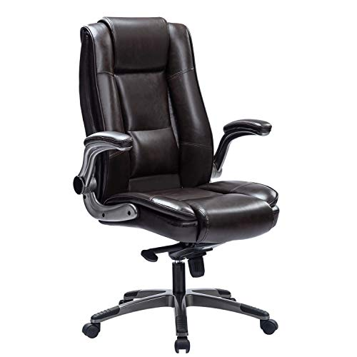 REFICCER High Back Office Chair, Bonded Leather Executive Computer Desk Swivel Chair with Adjustable...