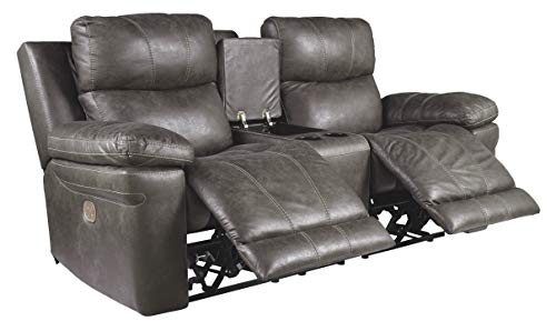 Signature Design by Ashley Erlangen Faux Leather Upholstered Power Reclining Loveseat with Console,...